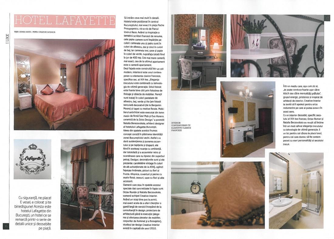 """Articolul """"Hotelul Lafayette"""", Revista casa Concept, Aprilie 2015"""
