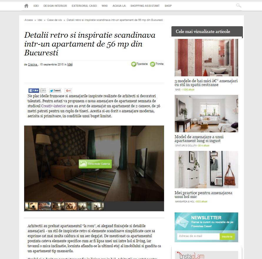 """Articol: """"Detalii retro si inspiratie scandinava intr-un apartament de 56 mp din Bucuresti"""", Povestea Casei"""