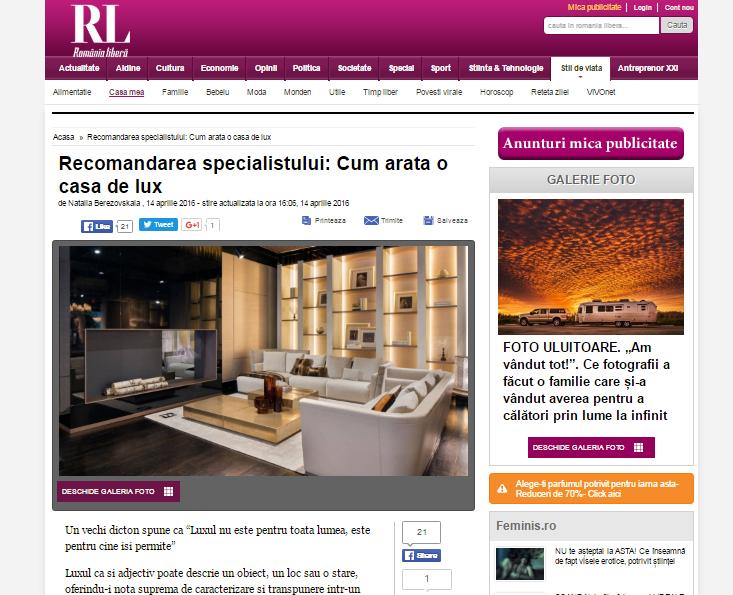 "Articol:"" Cum arata o casa de lux"",romanialibera.ro si Domus Util"