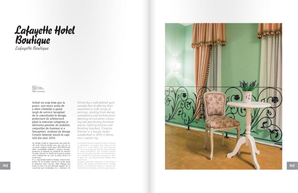 Articolul Lafayette Hotel Boutique in Bucharest in Revista I Love Romania