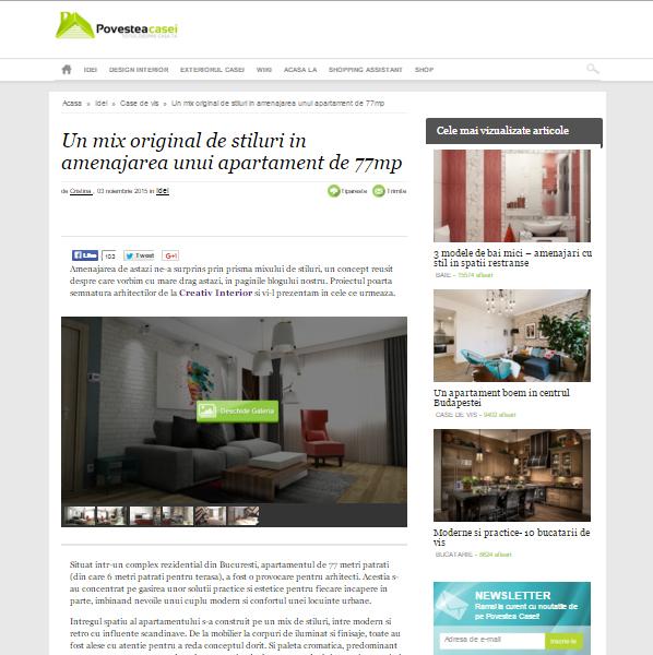 "Articol: ""Un mix original de stiluri in amenajarea unui apartament de 77mp"", Povestea Casei"