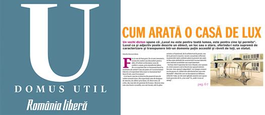 "Articol: ""Cum arata o casa de lux"" pe romanialibera.ro si supriment Domus Util"