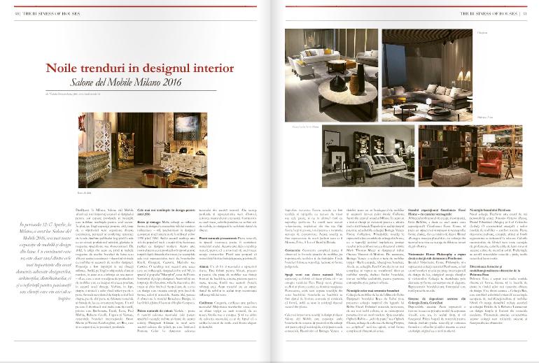 "Articolul ""Noile tendinte in designul interior - iSaloni 2016"" in ziarul The Gentleman's Journal"