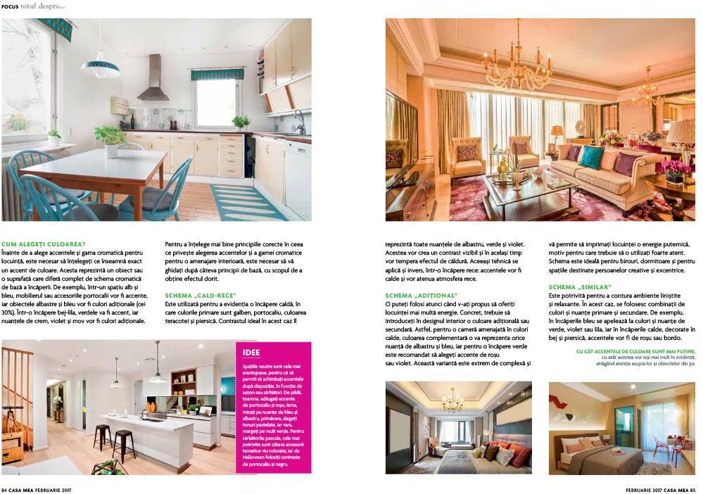 """Articolul"""" Culorile de accent intr-o amenajare"""", Revista Casa Mea, februarie 2017"""