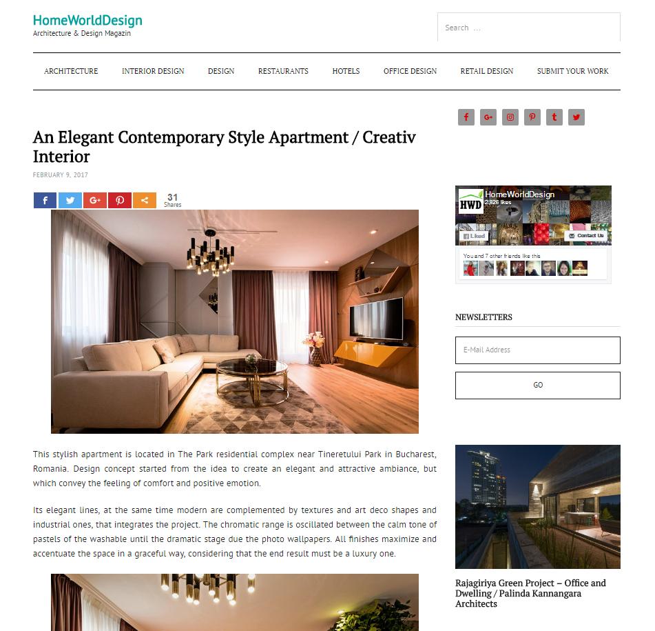 """Articol: """"An Elegant Contemporary Style Apartment / Creativ Interior"""" pe homeworlddesign.com"""