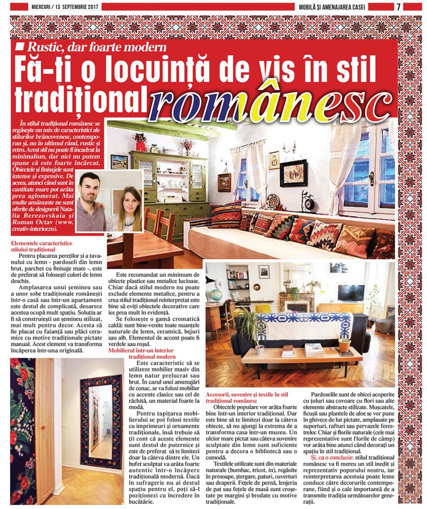 Jurnal national stil traditional romanesc creativ interior 1