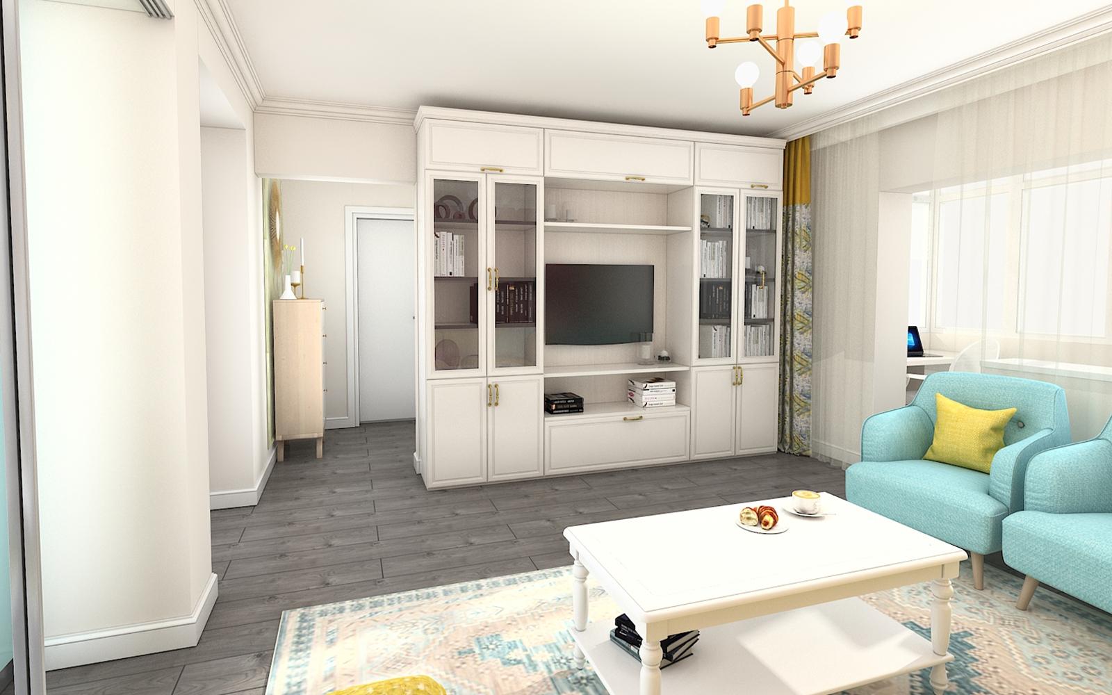 Design interior apartament 2 camere colorat