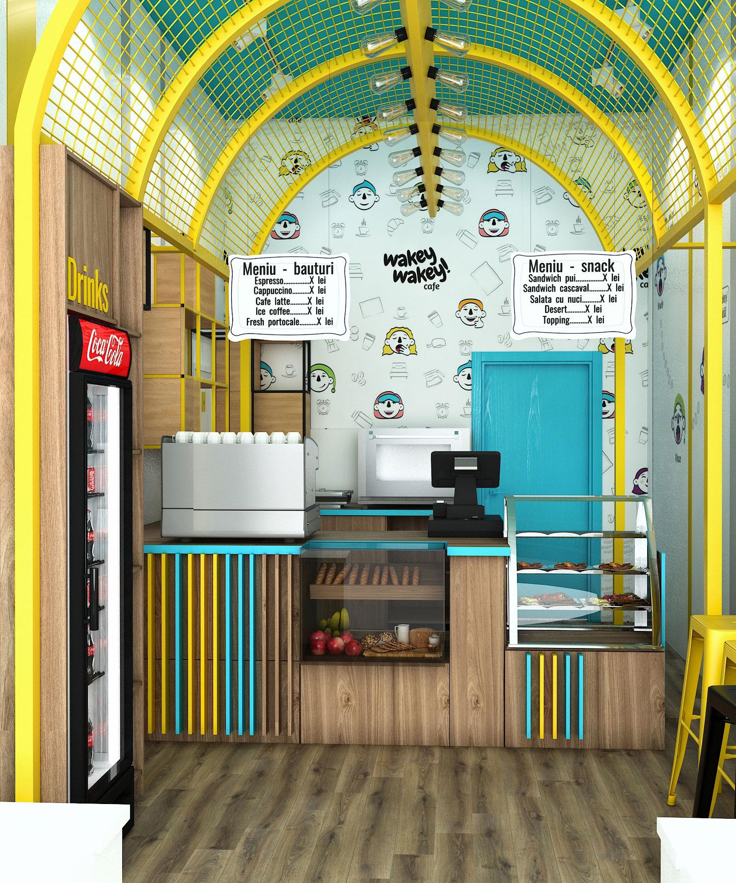 design interior coffee shop Wakey Wakey